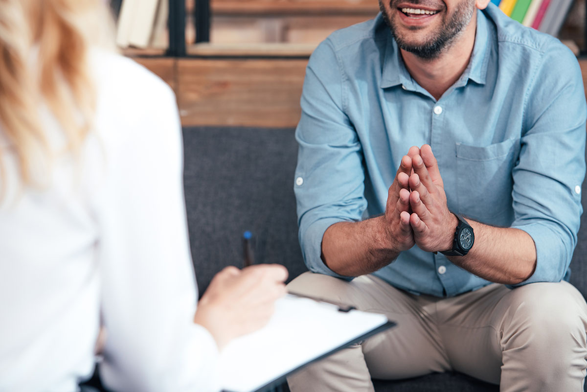 patient talking with ADHD therapist